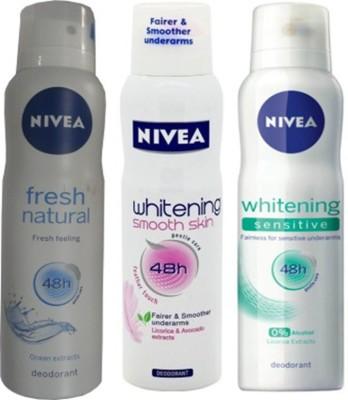 Nivea Whitening Sensitive ,Fresh Natural,Smooth Skin Deodorants Pack of 3 For Women Combo Set