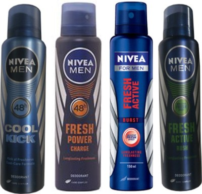 Nivea Cool Cick ,Fresh Power Charge,Burst,Rush Deodorantsbody Spray(Pack Of4) Combo Set