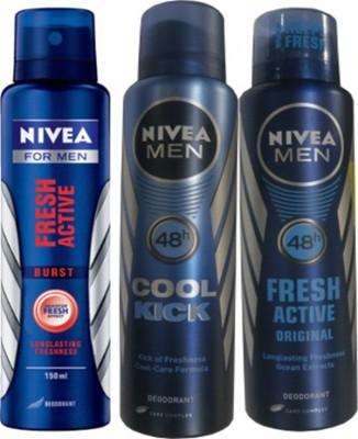Nivea Fresh Active Original,Cool Cick,Fresh Active Burst (Set Of 3)Deo For Men Combo Set