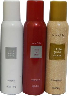 Avon Little White & Red & Gold Dress Body Each 150 ml Combo Set