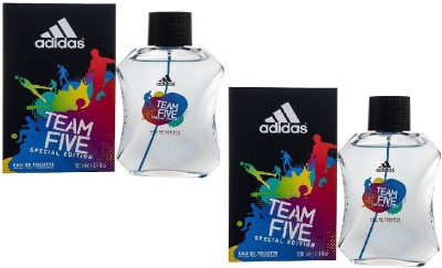Adidas Team Five Special Edition EDT for Men 100 ml (100 ml x 2) Combo Set