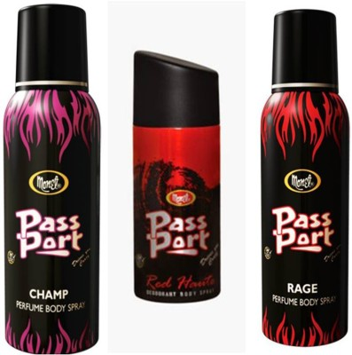 Monet Monet Passport Champ ,Red Haute and Rage Body Spray Combo Set