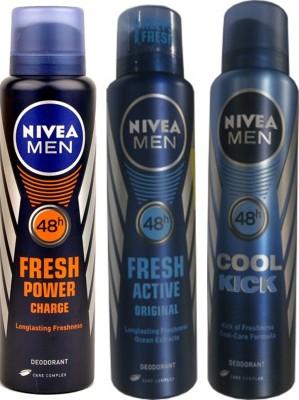 Nivea Fresh Original,Fresh Power Charge,Cool Cick (Set Of 3) Deo For Men Combo Set