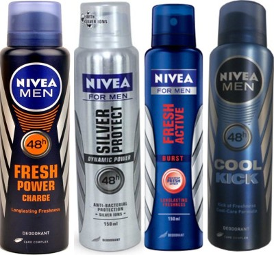 Nivea Silver Protect Dynamic Power,Cool Cick,Fresh Active Burst,Fresh Power Charge (Set Of 4)Deo For Men Combo Set