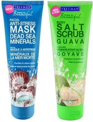 Freeman Dead Sea Minerals,Salt Scrub Guava Gift Set  Combo Set