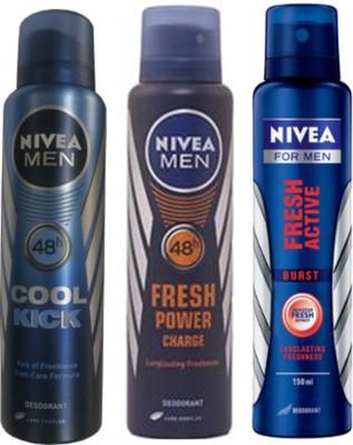 Nivea Cool Cick ,Fresh Power Charge, Fresh Active Burst (Set Of 3) Deo For Men Combo Set