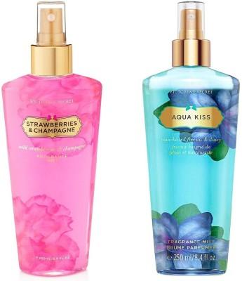 Victoria's Secret Victoria's Secret Fragrance Body Mist Set Aqua Kiss and Strawberry and Champagne for Women (250 ml x 2) Combo Set