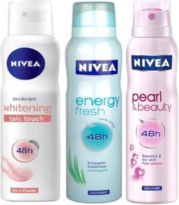 Nivea Whitening Talc touch,Pearl&Beauty,Energy fresh Deodorants Pack of 3 for Women Combo Set
