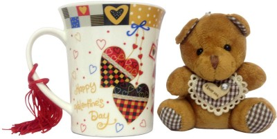Chiraiyaa Love print heart red black mug teddy Combo Set