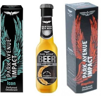 Park Avenue Icon,Magnificco and Anti Dandruff Beer Shampoo Combo Set