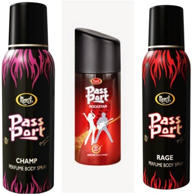 Monet Monet Passport Champ ,Rock Star and Rage Body Spray Combo Set