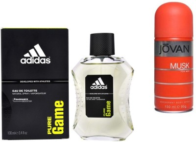 Adidas Live It Combo's In EDT Pure Game & Jovan Men's The Musk Deo Combo Set