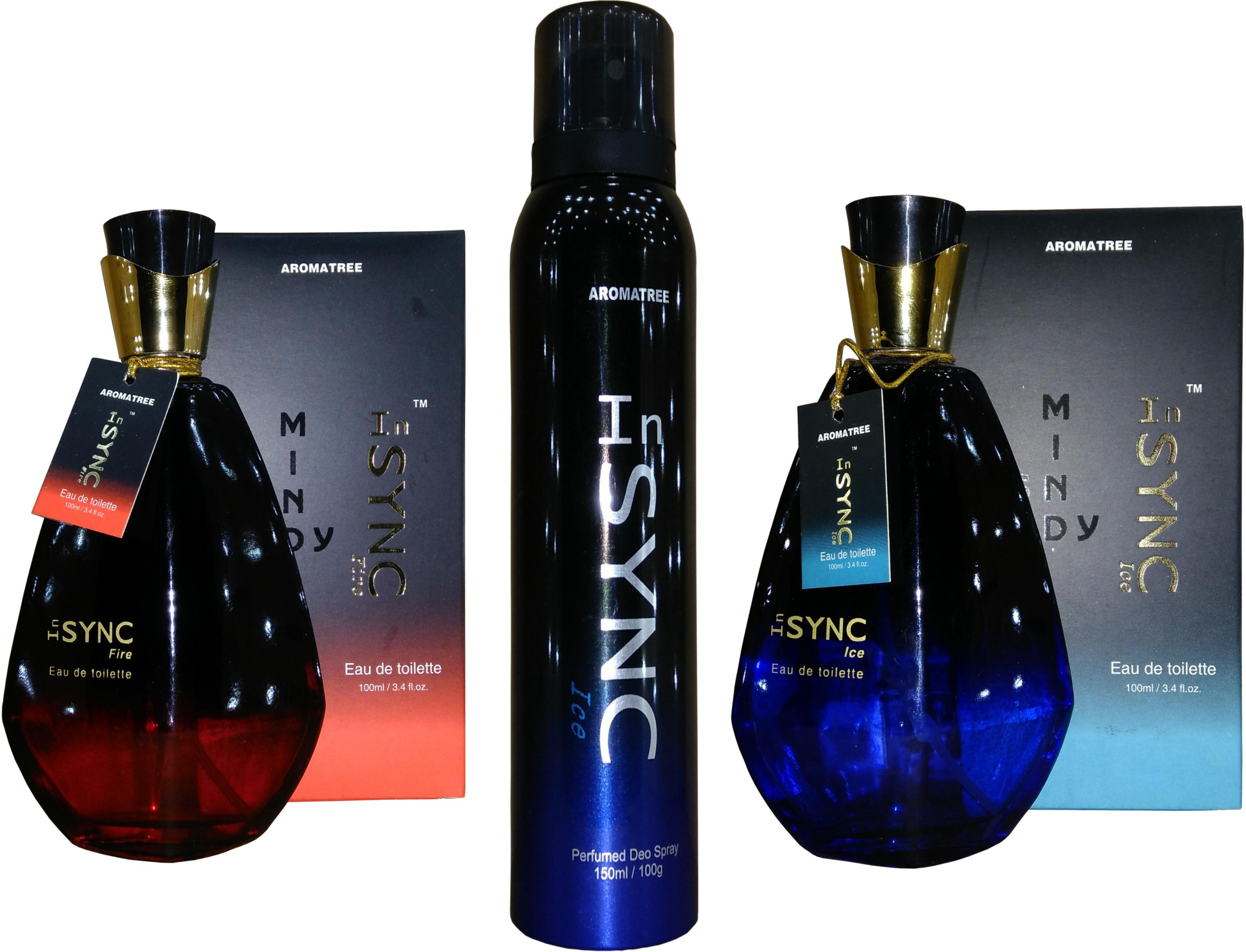 Aroma Tree InSYNC Fire Perfume With Ice Deo And Ice Perfume Set Combo Set(Set of 3)