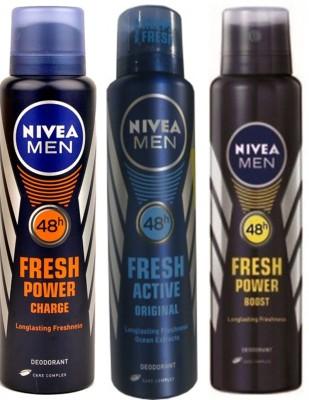 Nivea Fresh Power Boost,Fresh Power Charge,Fresh Active Original (Set Of 3) Deo For Men Combo Set