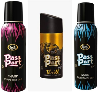 Monet Monet Passport Dude ,Thrill and Champ Body Spray Combo Set
