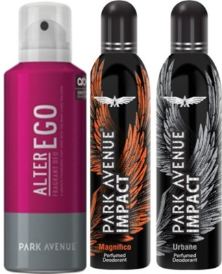 Park Avenue Impact Magnifico,Urbane,Alter Ego prefumed Deodorants pack of 3 for Men Combo Set