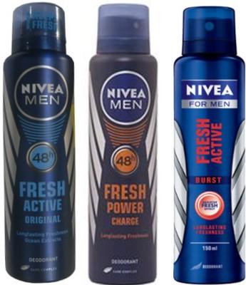 Nivea Fresh Original,Fresh Power Charge, Fresh Active Burst (Set Of 3) Deo For Men Combo Set