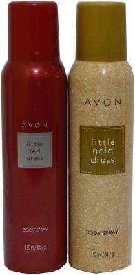 Avon Little Red & Gold Dress Body Each 150 ml Combo Set