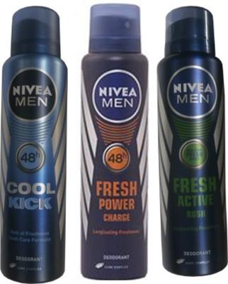 Nivea Cool Cick ,Fresh Power Charge, Fresh Active Rush(Set Of 3) Deo For Men Combo Set