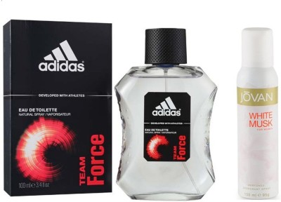 Adidas Live It Combo's In EDT Team Force & Jovan The White Musk Deo Combo Set