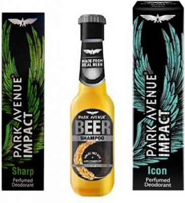 Park Avenue Sharp,Icon and Anti Dandruff Beer Shampoo Combo Set