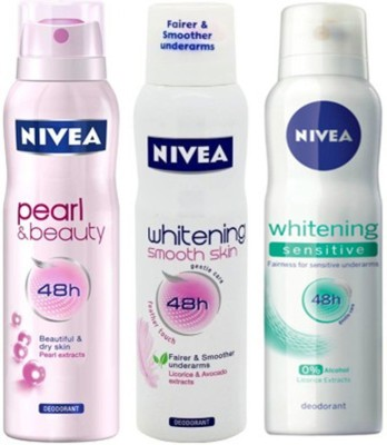 Nivea Whitening Sensitive ,Pearl&Beauty,Smooth Skin Deodorants Pack Of 3 For Women Combo Set
