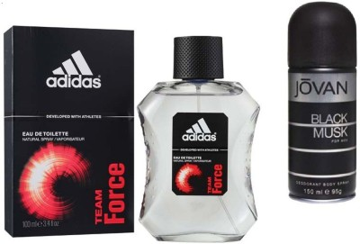 Adidas Live It Combo's In EDT Team Force & Jovan Men's The Black Musk Deo Combo Set