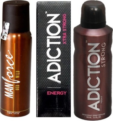 Adiction Xtra Strong Energy,Oud Intense,Vegas Deodorants Pack of 3 for Men Combo Set