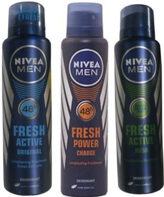 Nivea Fresh Original,Fresh Power Charge, Rush (Set Of 3) Deo For Men Combo Set