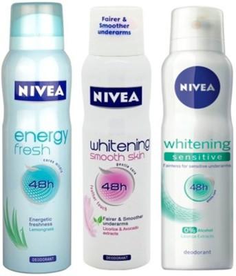 Nivea Whitening Sensitive ,Energy Fresh,Smooth Skin Deodorants Pack of 3 Women Combo Set