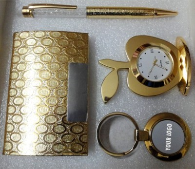 Dharohar The Heritage All 24k Gold Plated Crystal Pen, Table Clock, Visiting Card Holder and Key Holder - Combo Corporate Set-I Combo Set