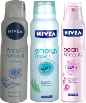 Nivea Nivea Energy Fresh ,Pearl&Beauty,fresh natural Deodorants Pack Of 3 for Women Combo Set