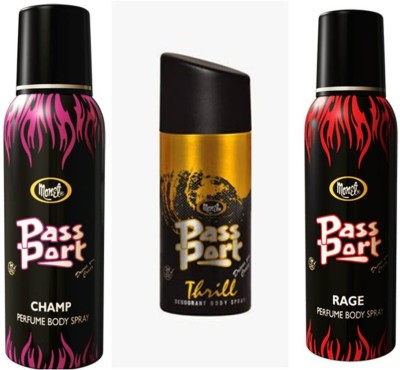 Monet Monet Passport Champ ,Thrill and Rage Body Spray Combo Set