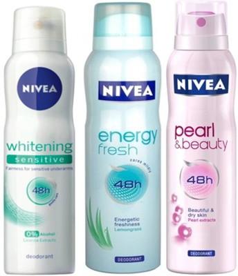 Nivea Whitening Sensitive,Pearl&Beauty,Energy fresh Deodorants pack of 3 for Women Combo Set