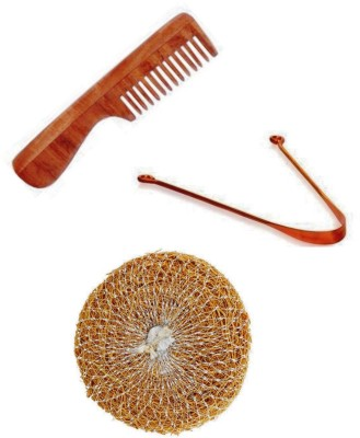 Etheric Etheric Khus Scrub , Copper Tongue Cleaner & Neem Wood Comb Combo Set