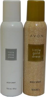 Avon Little Gold & White Dress Body Each 150 ml Combo Set