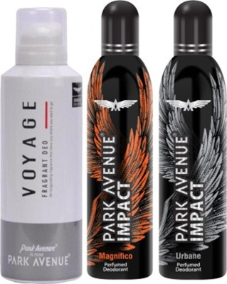 Park Avenue Impact Magnifico,Urbane,Voyage prefumed Deodorants pack of 3 for Men Combo Set