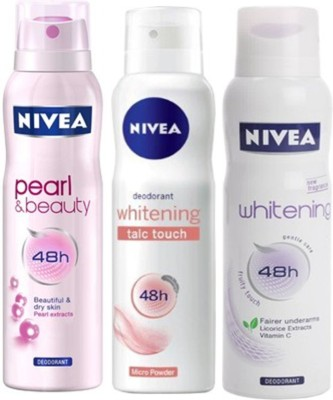 Nivea Whitening talc touch ,Pearl&Beauty,fruity touch Deodorants Pack of 3 For Women Combo Set