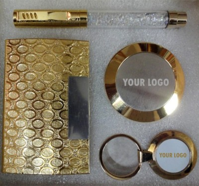 Dharohar The Heritage All 24k Gold Plated Crystal Pen, Visiting Card Holder, Circular Paper Weight and Key Chain Combo Corporate Set-IV Combo Set