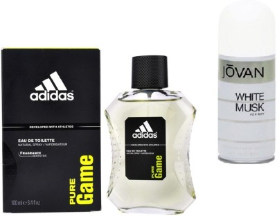 Adidas Live It Combo's In EDT Pure Game & Jovan Men's The White Musk Deo Combo Set