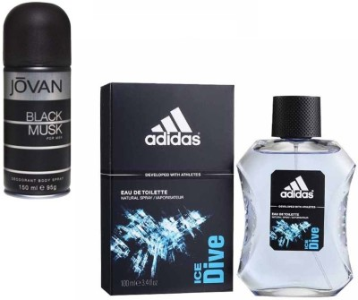 Adidas Live It Combo's In EDT Ice Dive & Jovan Men's The Black Musk Deo Combo Set