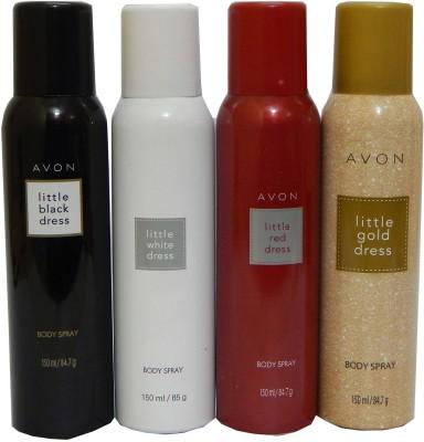 Avon Little Black & White & Red & Gold Dress Body Each 150 ml Combo Set