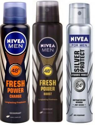 Nivea Fresh Boost,Fresh Charge,Dynamic (Set Of 3)Deo For Men Combo Set