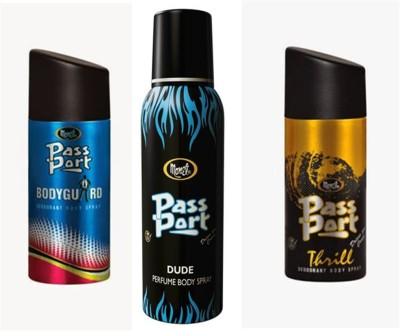 Monet Monet Passport BodyGuard ,Dude and Thrill Body Spray Combo Set