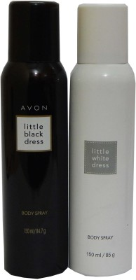Avon Little Black & White Dress Body Each 150 ml Combo Set(Set of 2)