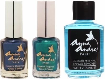 Anna Andre Paris Nail Polish Set (Shade 80088, 80069 & Nail Enamel Remover)