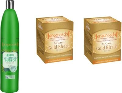 Aryanveda Volumizing Hair Shampoo and 2 Gold Bleech combo