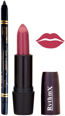 Rythmx Purple Shades Lipstick And Pro Non Transfer Black Kajal 3888