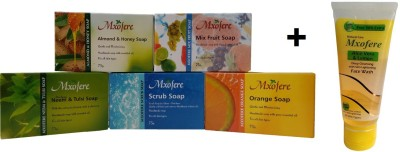 Mxofere Combo Almond Honey Mixfruit Neem Tulsi Scrub Orange Soap Kit