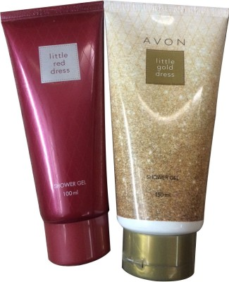 Avon Little Red and Gold Dress Shower Gel